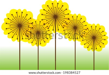 color vector dandelions - stock vector