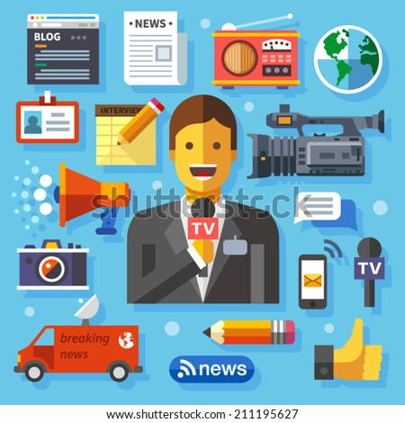 Color vector flat icon set and illustrations modern information technology and news release: journalist, camera, photo, blog, interview, microphone, radio, live broadcast - stock vector