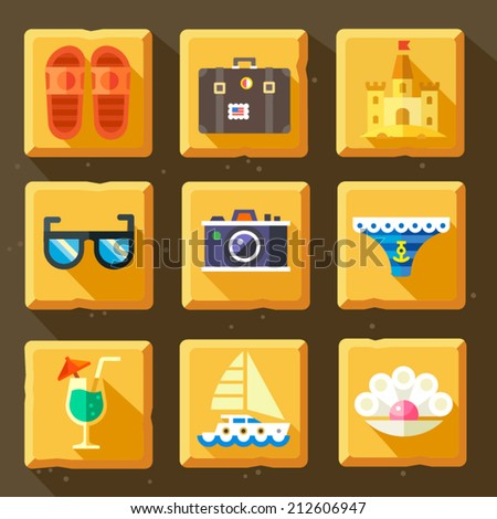 Color vector flat icon set and illustrations summer holidays: sea, sun, beach, shoes, photo camera, sunglasses, suitcase, sand castle, shell, pearl, yacht, sail, boat, cocktail, swimsuit. - stock vector