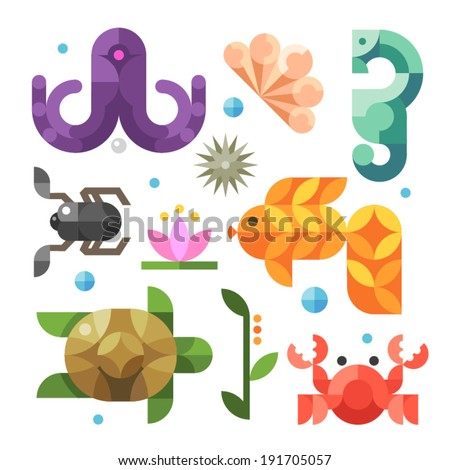Color vector flat icons  - stock vector