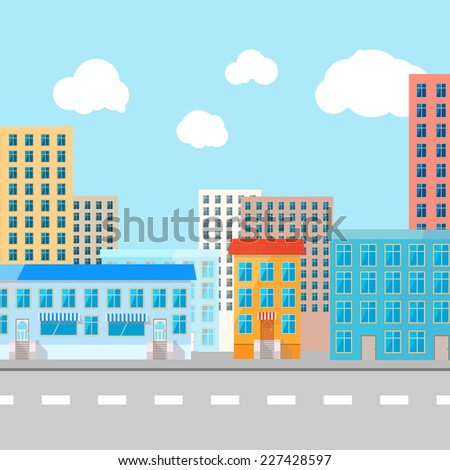 Color vector flat illustration of urban city - stock vector