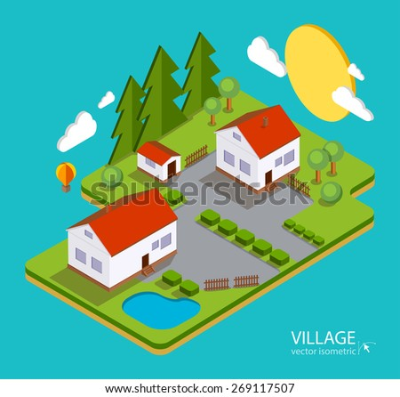 Color vector flat illustration village landscape. Houses, nature, lake, sun, trees. Summer time vacation concept. 3d isometric design - stock vector