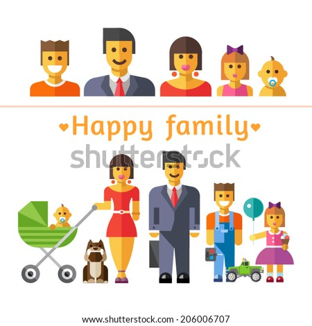 Color vector flat illustrations and icon set happy family: parents and children - stock vector