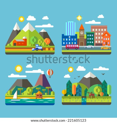 Color vector flat  illustrations urban and village landscapes: nature, mountains, lake, hay, deer, ship, vacation, sun, trees, house, mills, field, city, cars, skyscrapers - stock vector