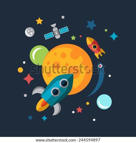 Color vector flat space, rocket, planet - stock vector