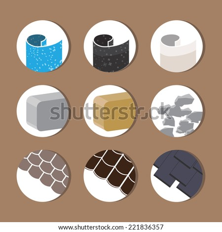 Color vector icons of building materials - stock vector