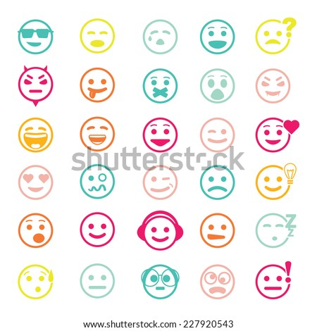Color vector icons of smiley faces on white background. Different emotions. - stock vector