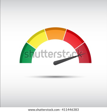 Color vector tachometer, speedometer and performance measurement icon, illustration for your website, infographic and apps - stock vector