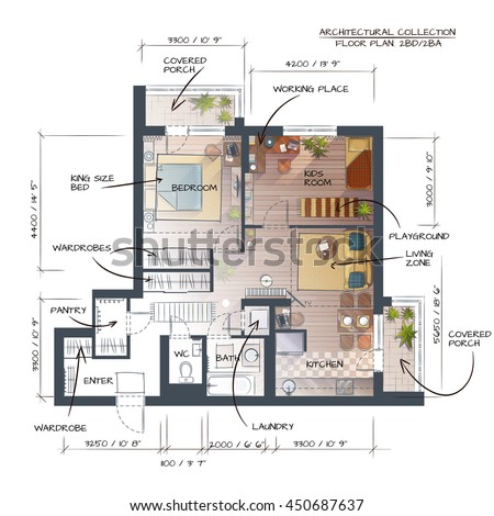 Color Vector Technical Illustration Of Abstract Interior Concept. Professional Architectural  - stock vector