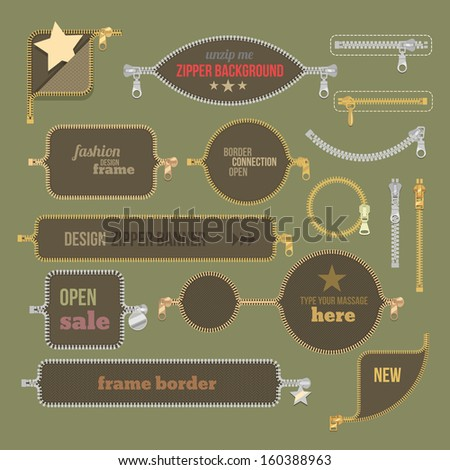 color vintage zipper border frame banners set - stock vector