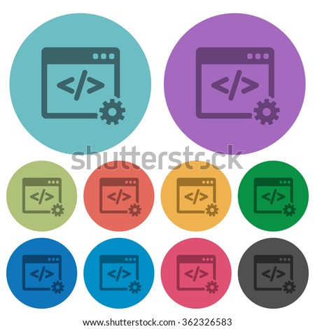 Color web development flat icon set on round background. - stock vector