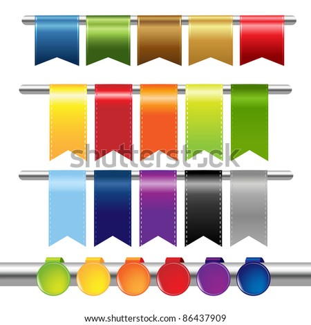 Color Web Ribbons, Isolated On White Background, Vector Illustration - stock vector