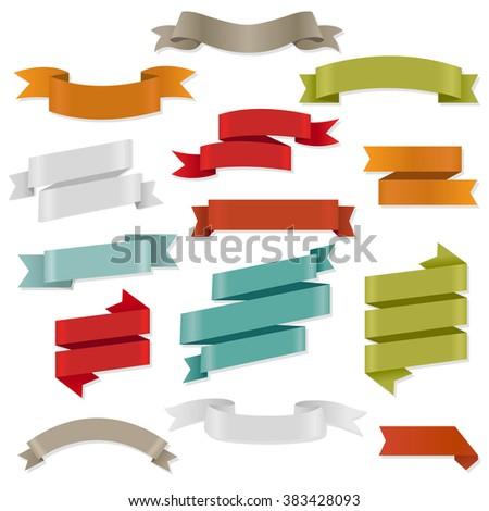 Color Web Ribbons Set Vector Illustration - stock vector