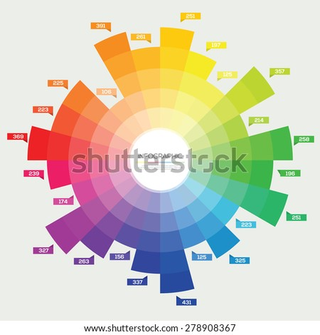 Color wheel circle Infographic. Flat Vector design template.  - stock vector