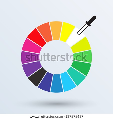 Color wheel or color circle isolated  on gray background. Vector illustration. - stock vector
