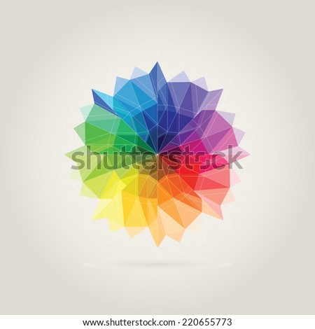 color wheel polygon in beige background - stock vector