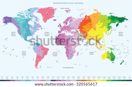 color worldwide map of local time zones - stock vector