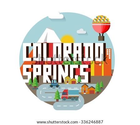 Colorado Spring destination brand logo. vector cartoon - stock vector