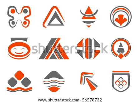colored abstract design elements - vector set - stock vector
