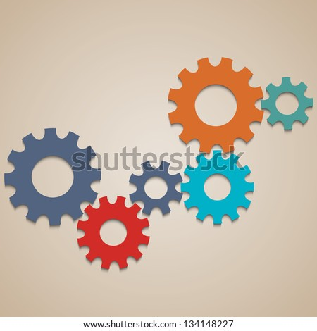 Colored abstract gear wheels. Vector design template - stock vector