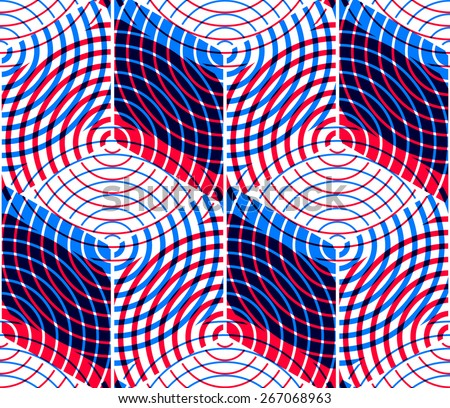 Colored abstract interweave geometric seamless pattern, EPS10. Bright illusory backdrop with three-dimensional intertwine figures. Graphic vector covering. - stock vector