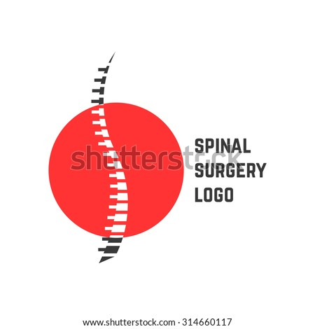 colored abstract spinal surgery logo. concept of vertebrae analysis, scoliosis, skeletal, hospital. isolated on white background. flat style trend modern brand logotype design vector illustration - stock vector