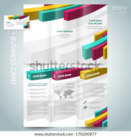 colored action 3d line brochure design template leaflet white background - stock vector