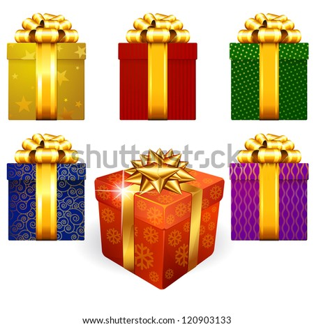 Colored and decorated shining gift boxes with golden ribbon and bow. - stock vector
