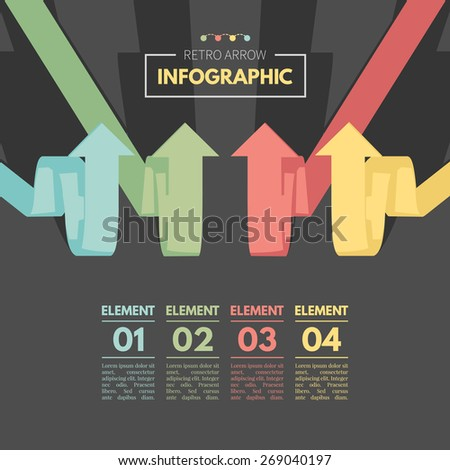 Colored arrow pointing up. Retro color infographics. Vector Illustration EPS10. - stock vector