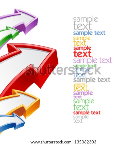 Colored arrows design template with place for text - stock vector