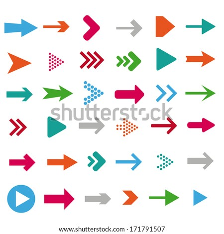 Colored arrows on the white background. Eps 10 vector file.  - stock vector