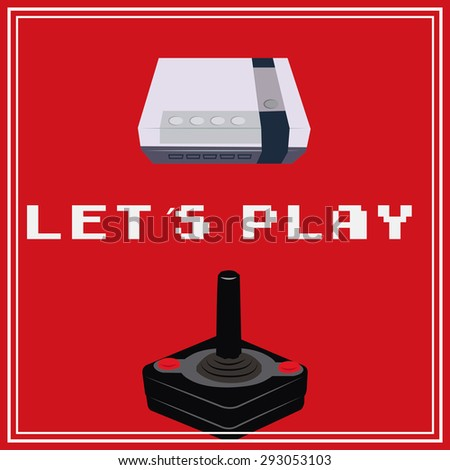 Colored background with a console, a controller and text. Vector illustration - stock vector