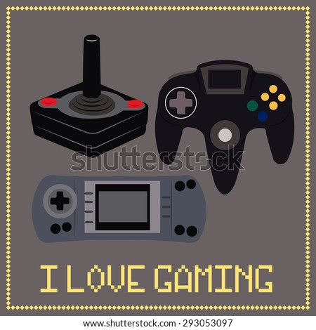 Colored background with a group of controllers and text. Vector illustration - stock vector