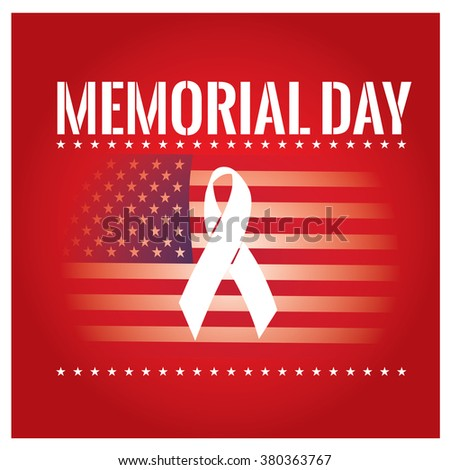 Colored background with text, the american flag and a peace symbol for memorial day - stock vector