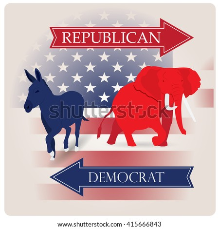 Colored background with the american flag and both the republican and democrat symbols - stock vector