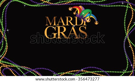 Colored beads frame Mardi Gras wide background EPS 10 vector stock illustration. - stock vector