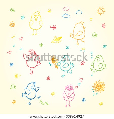 Colored Birds set. Hand drawn doodles cute fluffy chicks - vector illustration  - stock vector