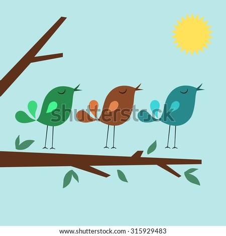 colored birds sing spring - stock vector