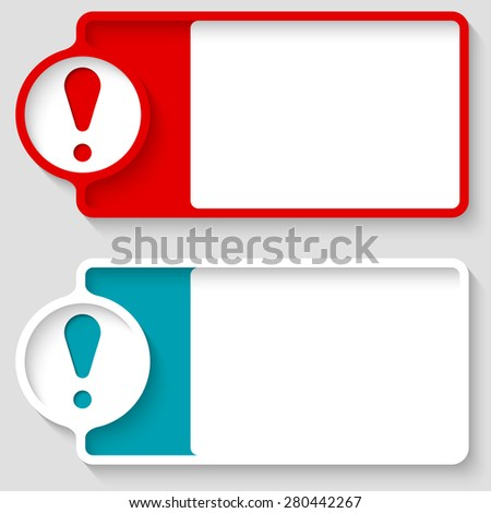 Colored boxes for your text and exclamation mark - stock vector