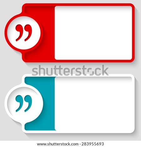 Colored boxes for your text and quotation mark - stock vector