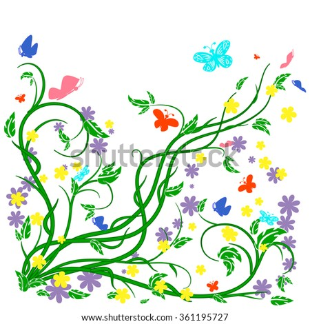 Colored butterflies and flowers with abstract swirls on a white background. Can be used as a background, decor, decoupage, textile, invitation. - stock vector