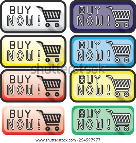 "Colored ""Buy Now!"" Buttons - stock vector"