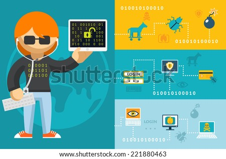 Colored Cartoon Computer Hacker with Accessories Icons - stock vector