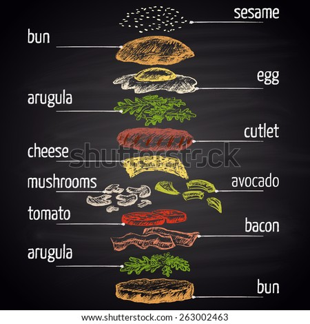 Colored chalk painted illustration of egg burger with ingredients. Infographic. - stock vector