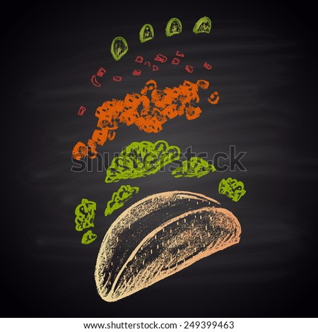 Colored Chalk painted ingredients of taco. Fast Food Menu theme. - stock vector