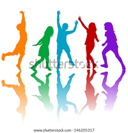 Colored children silhouettes playing - stock vector