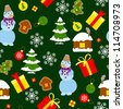Colored Christmas seamless pattern in simple style - stock vector