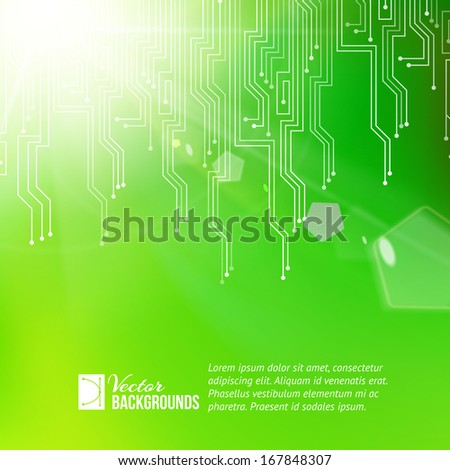 Colored circuit abstraction. Vector illustration. - stock vector