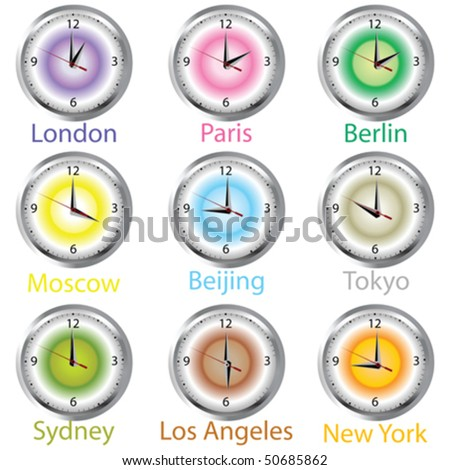 Colored clocks with timezone - stock vector