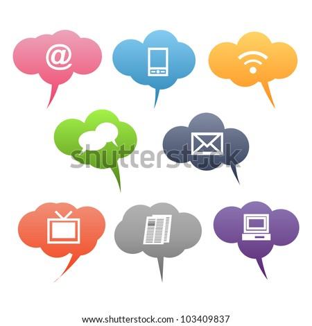 Colored communication symbols - stock vector